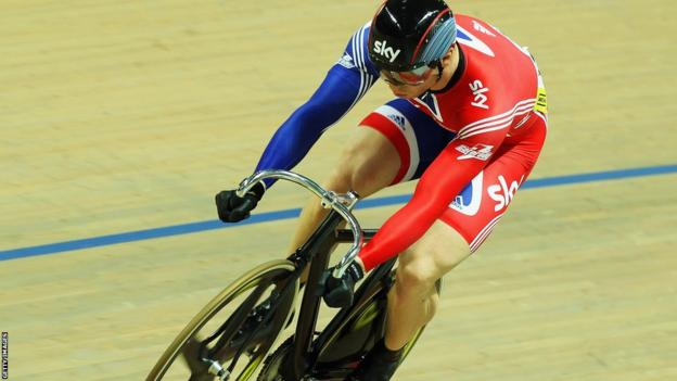 Chris Hoy takes third place in the team sprint at the 2010 European Championships in Poland