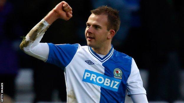 Blackburn striker Jordan Rhodes