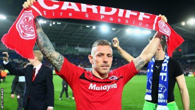 Craig Bellamy celebrates winning promotion