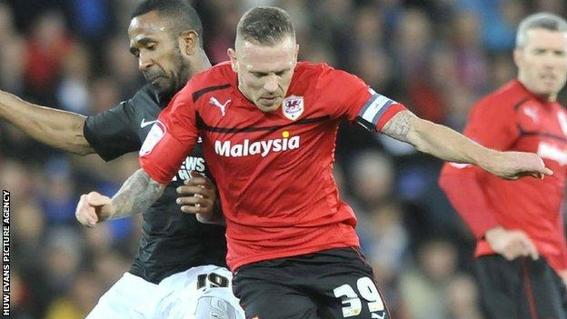 Craig Bellamy in action for Cardiff City against Charlton Athletic.