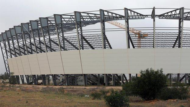 A view of a stadium under construction in the southern suburbs of the Libyan capital Tripoli