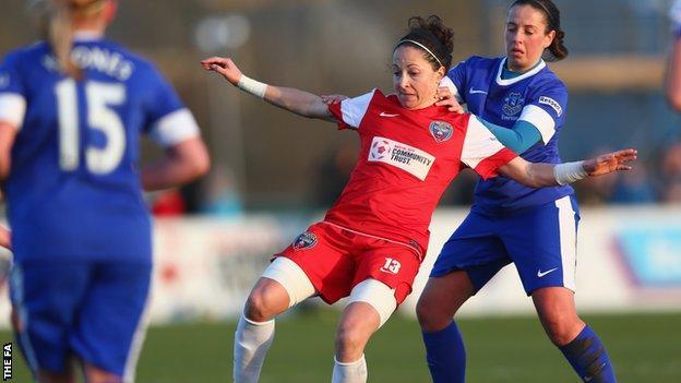 Bristol Academy's Laura Del Rio and Everton's Amy Kane