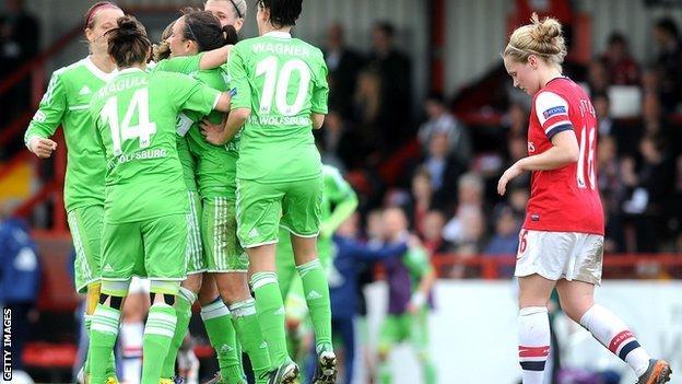 Wolfsburg celebrate as Arsenal's Kim Little looks dejected