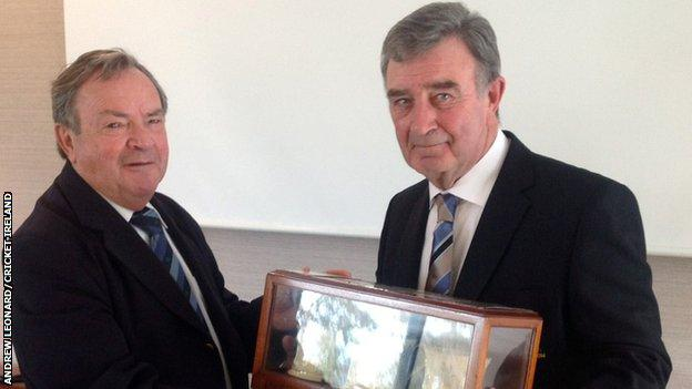 Outgoing Cricket Ireland president Arthur Vincent with new president Robin Walsh
