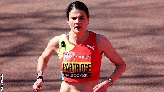 Susan Partridge crosses the finish line ninth at the London Marathon
