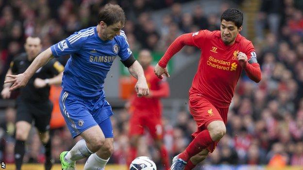 Luis Suarez (right), fights for the ball against Chelsea's Branislav Ivanovic