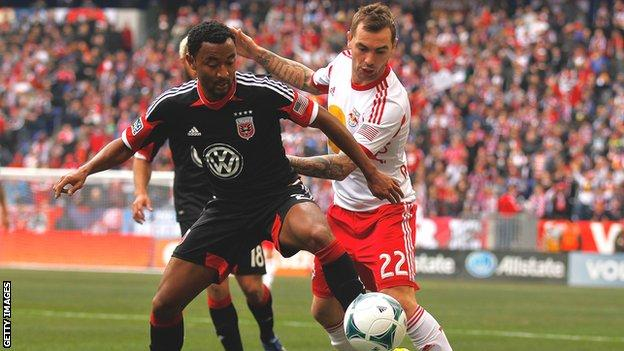 Jonny Steele in action for New York Red Bulls against DC United