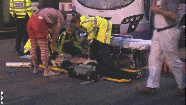 Danny Cipriani is treated at the scene of the accident