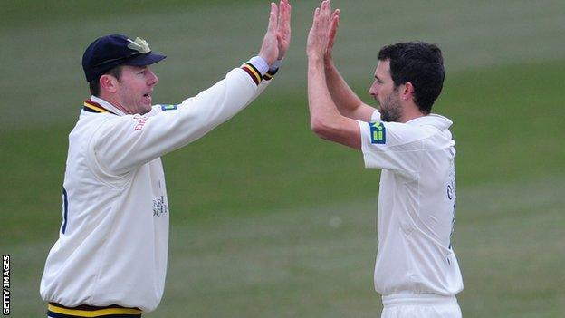 Graham Onions takes a wicket for Durham