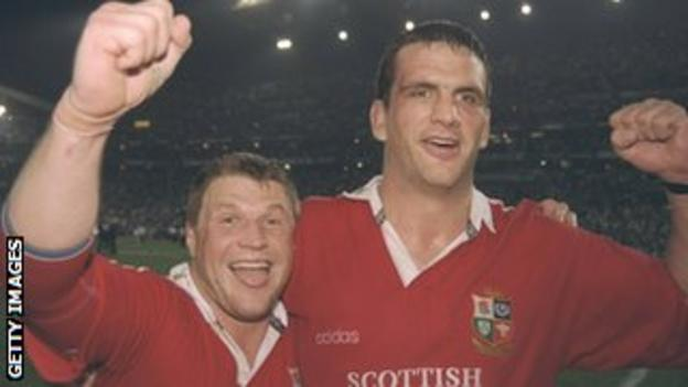 Scott Gibbs (left) and Martin Johnson celebrate the Lions' series win in South Africa