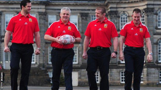 Lions coaches Andy Farrell, Warren Gatland (head coach), Graham Rowntree and Rob Howley