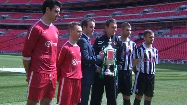 Spennymoor and Tunbridge Wells pose for promotional shots at Wembley