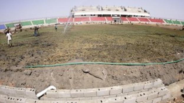 A stadium under construction in Darfur