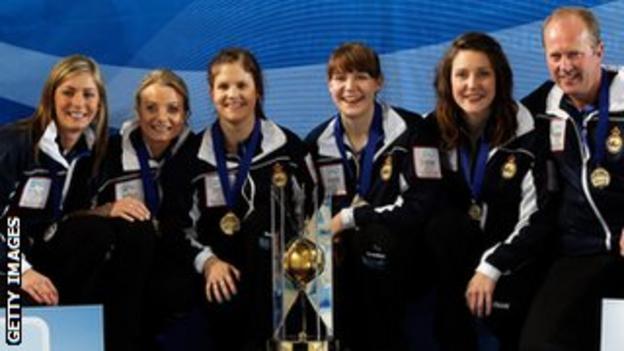 Eve Muirhead, Anna Sloan, Vicki Adams, Claire Hamilton, Lauren Gray and coach David Hay
