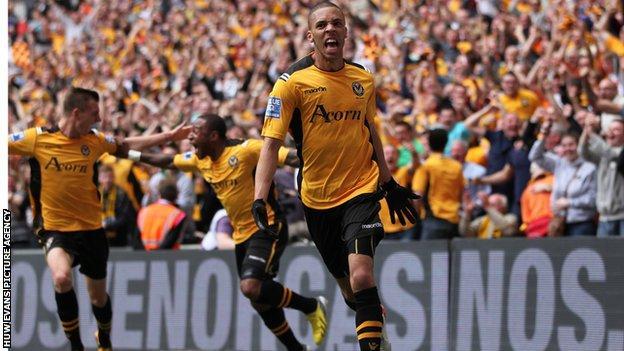 Christian Jolley celebrates his goal at Wembley.