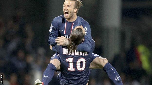 David Beckham and Zlatan Ibrahimovic celebrate PSG's title win