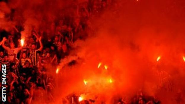 Fenerbahce fans celebrate their team's victory