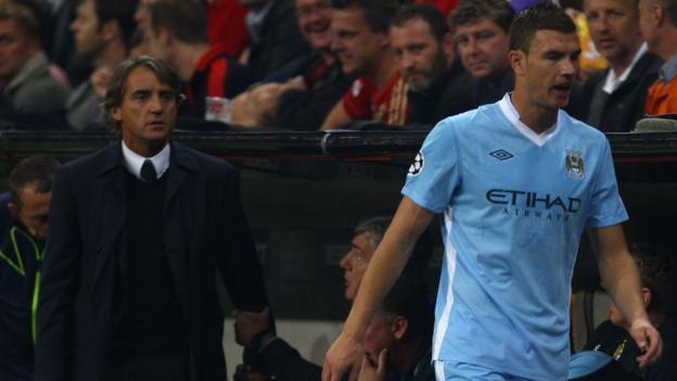 Edin Dzeko, Roberto Mancini, Manchester City