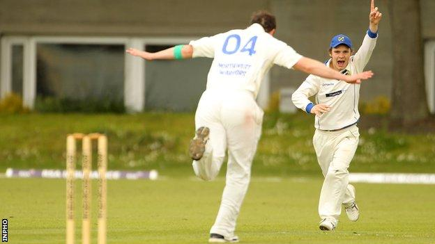 North West Warriors Johnny Thompson and Andrew McBrine celebrate a wicket