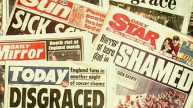 Newspaper headlines the morning after the abandoned match