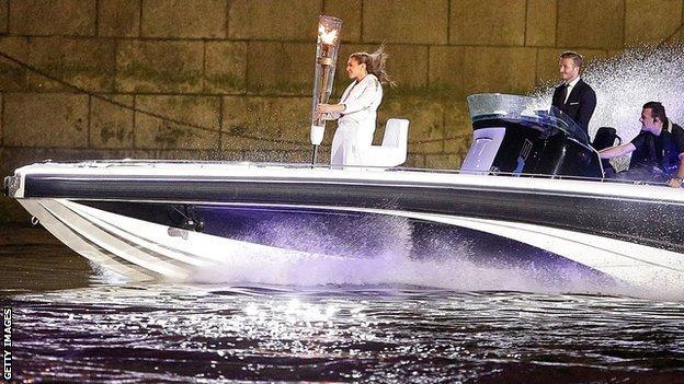 David Beckham on a speedboat