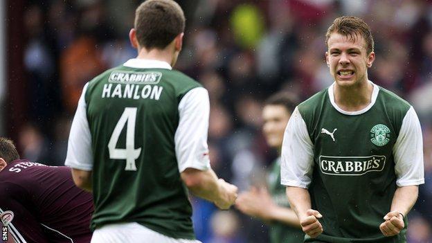 Hibs defender Paul Hanlon and team-mate Jordon Forster