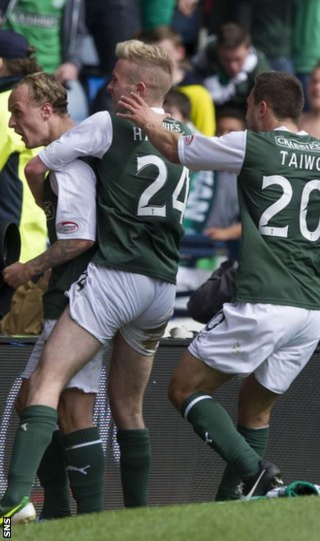 Leigh Griffiths is congratulated following his winner against Falkirk in the semi-final