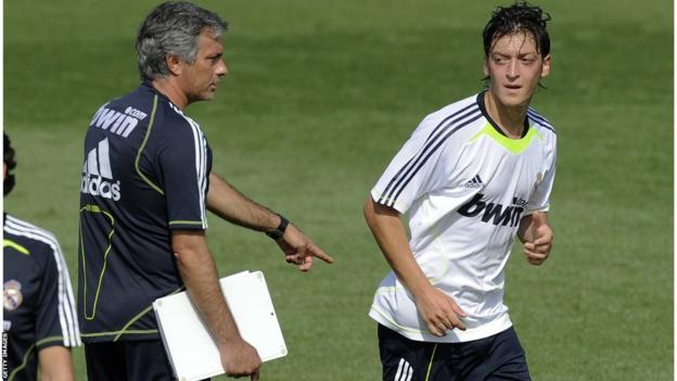 Jose Mourinho and Mesut Ozil