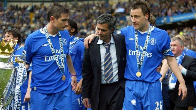 Frank Lampard, Jose Mourinho and John Terry