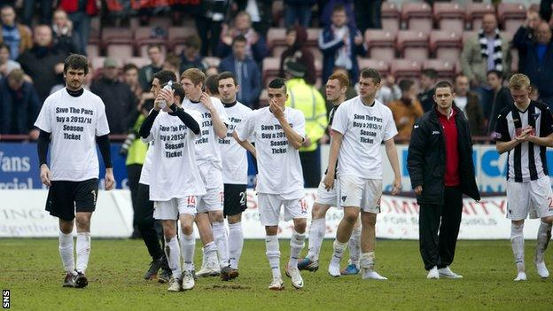 Dunfermline were relegated to Division Two in the play-offs