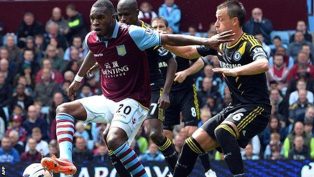 Christian Benteke in action against Chelsea