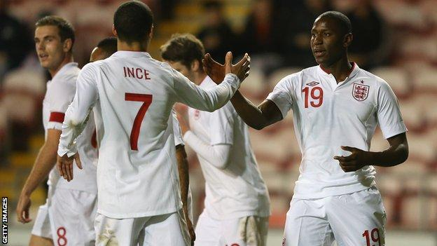 The England Under-21 team celebrate a goal