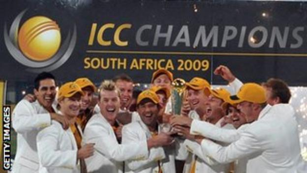 Australia's players lift the Champions Trophy