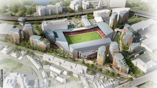 An artist's impression of a new stadium for Brentford at Lionel Road