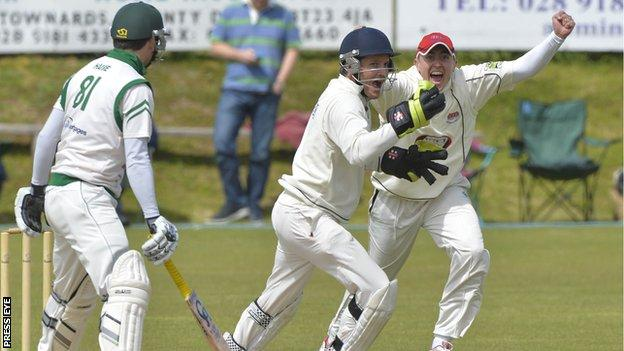 Waringstown's Johnny Bushe and Lee Nelson celebrate as Ryan Haire of North Down is dismissed