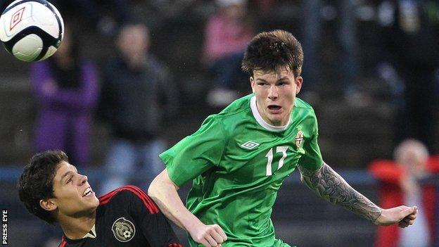 Liam McAlinden playing for Northern Ireland in the 2012 Milk Cup