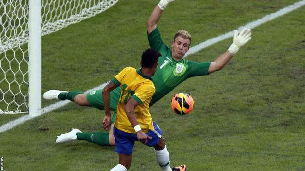 Joe Hart saves from Neymar