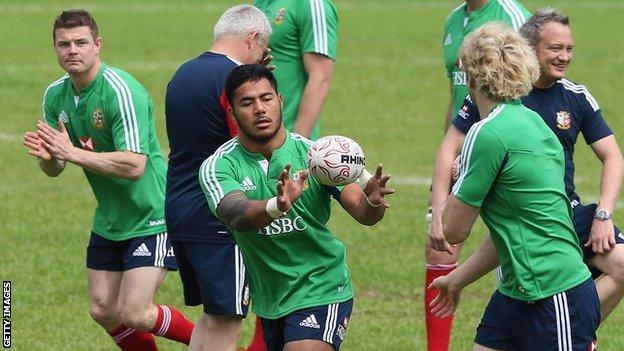 British and Irish Lions during training