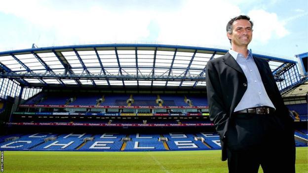 Jose Mourinho poses at Stamford Bridge