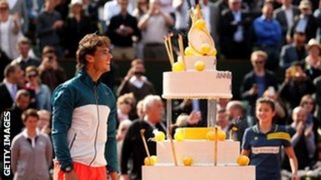 Rafael Nadal and his cake