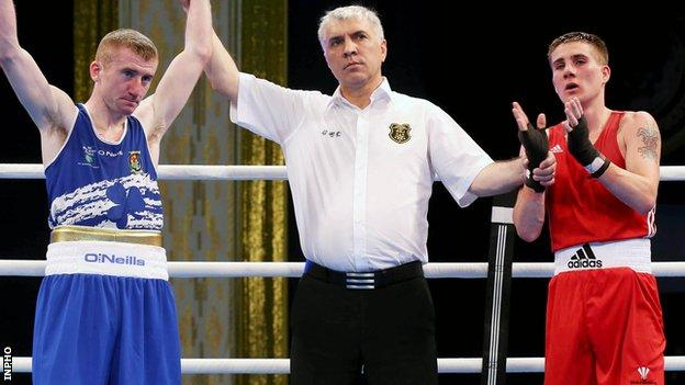 Ireland's Paddy Barnes is declared the winner over John Williams of Wales