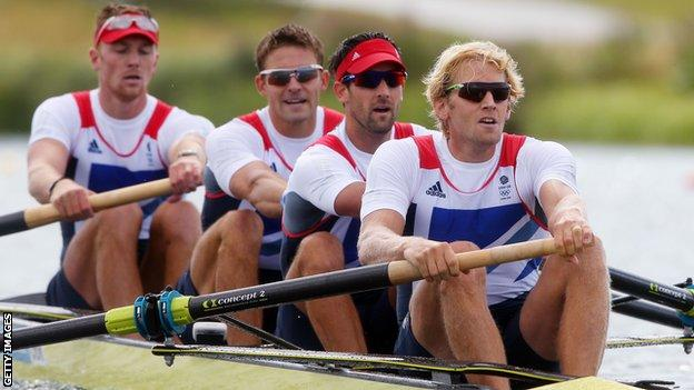Olympic men's four champions Pete Reed, Andy Triggs Hodge and Alex Gregory
