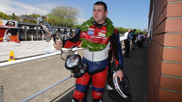 Michael Dunlop after collecting his fourth trophy at this year's Isle of Man TT
