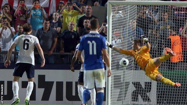 England's Jack Butland tries to save Italy's free-kick
