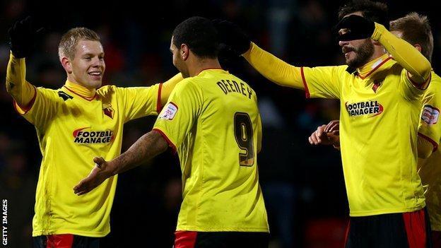 Matej Vydra and his Watford team-mates