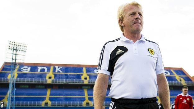Scotland manager Gordon Strachan at the Maksimir Stadium