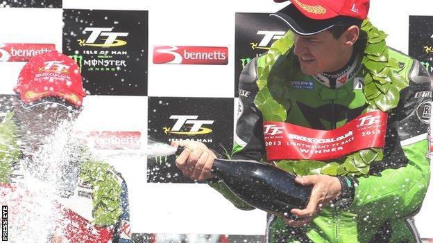 James Hillier celebrates his first TT victory