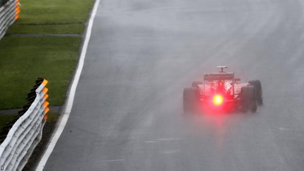 Fernando Alonso driving in the rain