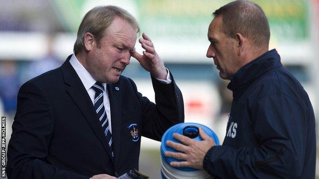 Kilmarnock chairman Michael Johnston (left) with manager Kenny Shiels