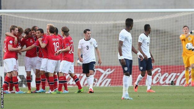 Fredrik Semb Berge of Norway celebrates scoring the first goal against England Under-21s
